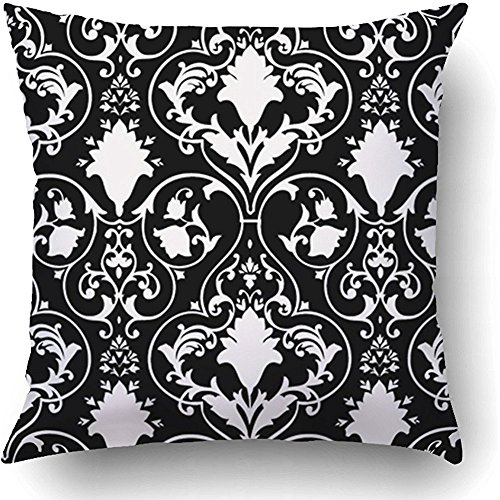 Staropor Throw Pillow Covers Black Fleur Antique Scroll White Lis LYS Damask Victorian Baroque Abstract Rococo Polyester 18 X 18 Inch Square Hidden Zipper Decorative Pillowcase