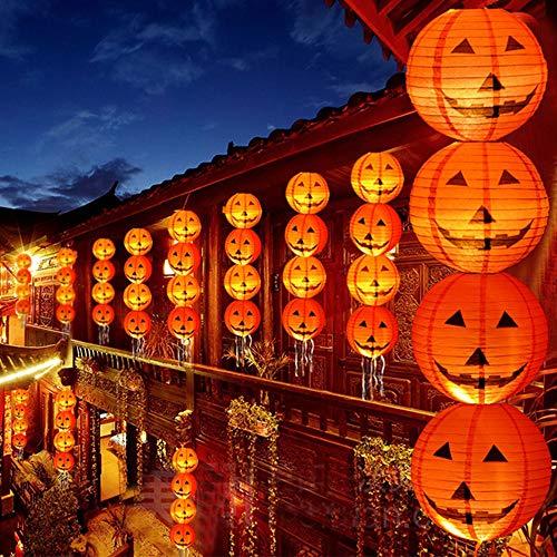 Halloween Decorations Paper Lanterns with LED Light Halloween Indoor and Outdoor Decoration Pumpkin Lantern 4 Pcs (20 cm)
