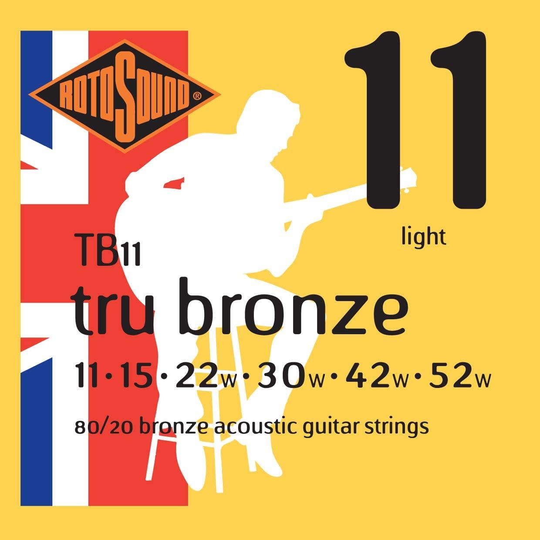 Rotosound TB11 - Juego de cuerdas para guitarra acústica de bronce, 11 15 22 30 42 52