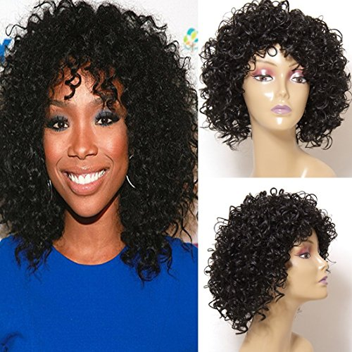 [Jolia Hair Fashion Gorgeous Hairstyles Synthetic Short Curly Wavy Full Hair Wigs for Women Natural Look, Jet Black] (Curly Wigs For Black Hair)