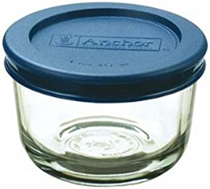 Anchor Hocking 1-Cup Round Food Storage Containers Clear glass with Blue Plastic Lids, Set of 6 -