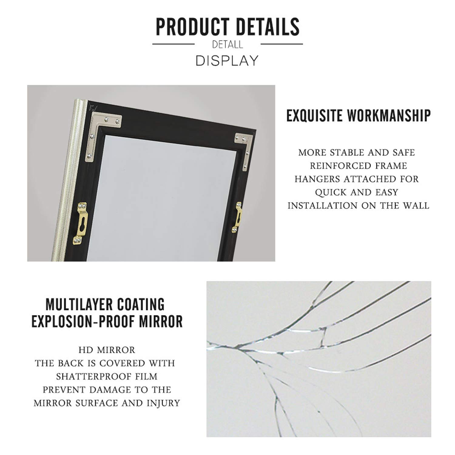 ZHOWI Floor Mirror Full Length Large Full Body Size Stand up Standing Wall Mounted Mirrors Bedroom Bathroom D/écor Wide Border PS Frame Black Coffee, 65x22in