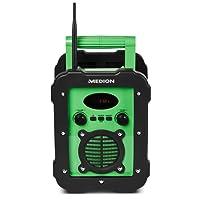 Medion Life E66262 Spritzwassergeschütztes Freizeitradio/Baustellenradio, IP441, UKW/MW Radio, 50 Watt Lautsprecher, Aux Eingang, Grün
