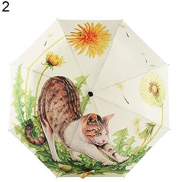 xMxDESiZ Paraguas Plegable portátil con diseño de Gato de Dibujos Animados para Verano, Anti Rayos UV, para Lluvia y Sol 2#: Amazon.es: Hogar