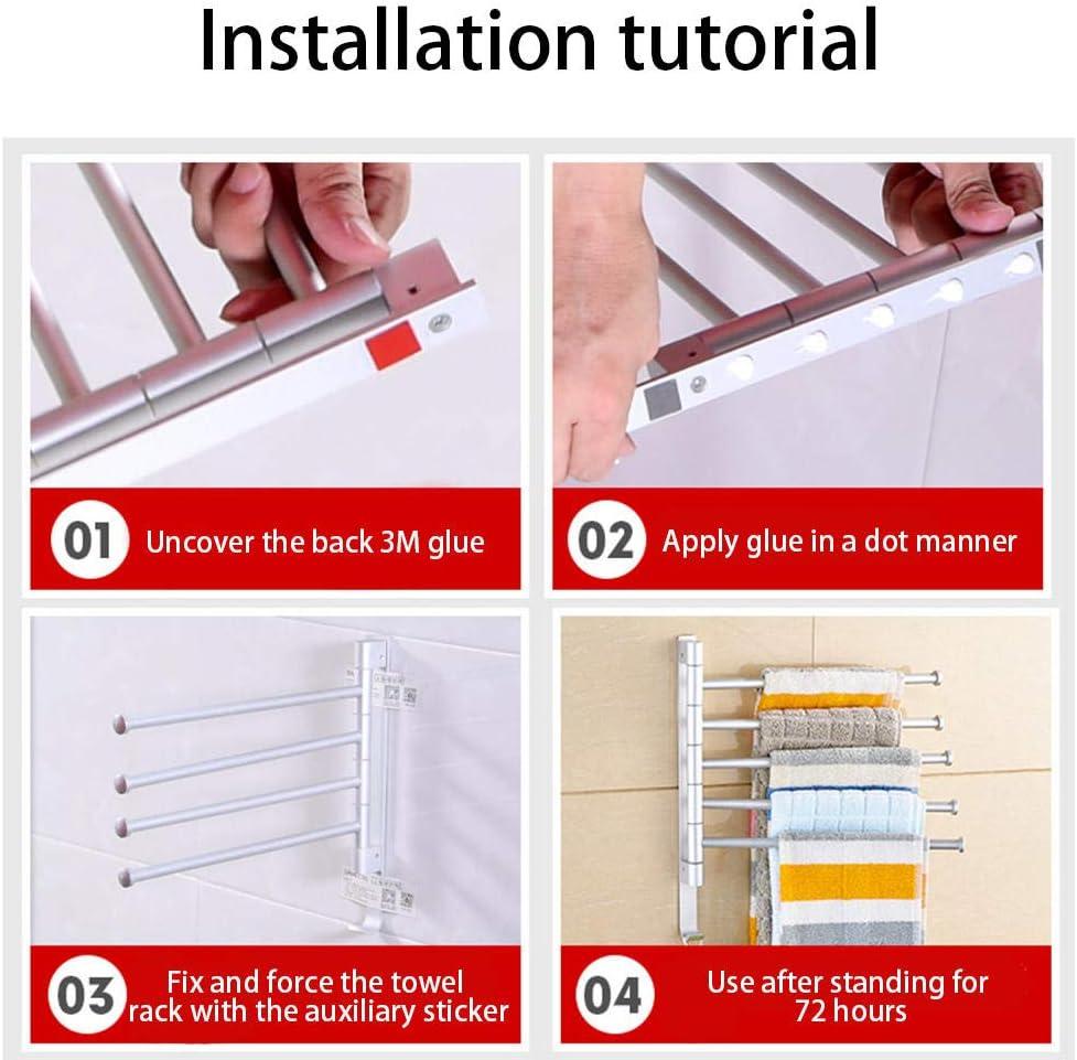 Toallero de aluminio con espacio libre de perforaciones toallero estante toallero ba/ño giratorio de barras m/últiples Varilla doble giratoria negra