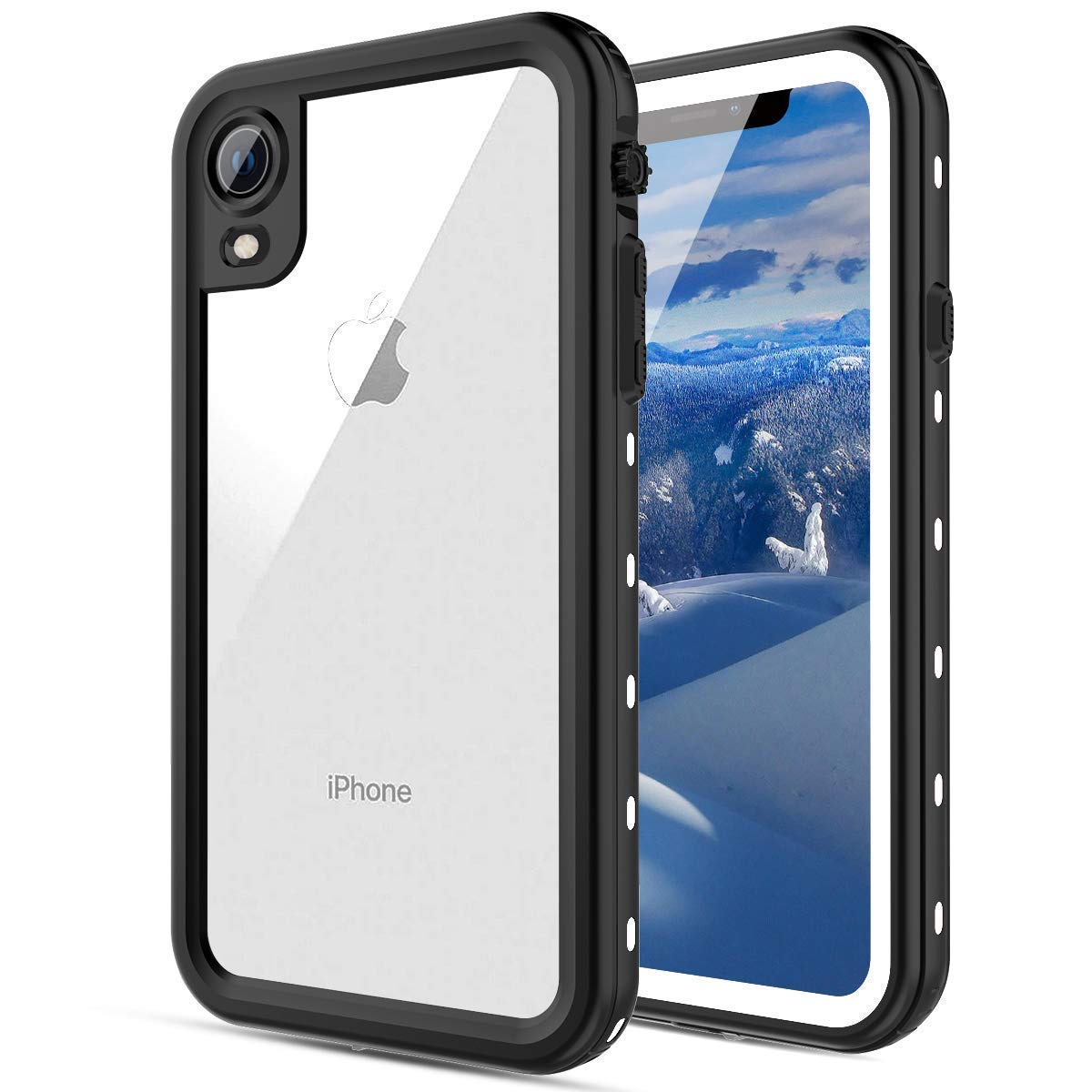 FXXXLTF Case for iPhone XR, iPhone XR Waterproof Cover Heavy Duty Full Body Protective Clear Slim Case Shockproof Snowproof Ultra Hybrid Compatible with iPhone XR 2018 (6.1 Inch,White) by FXXXLTF