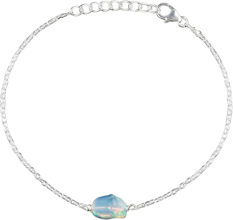 OOAK por Virat Pulsera de ópalo crudo, en cadena de plata de ley 925, 8 pulgadas, piedra natal de octubre, joyería hecha a mano