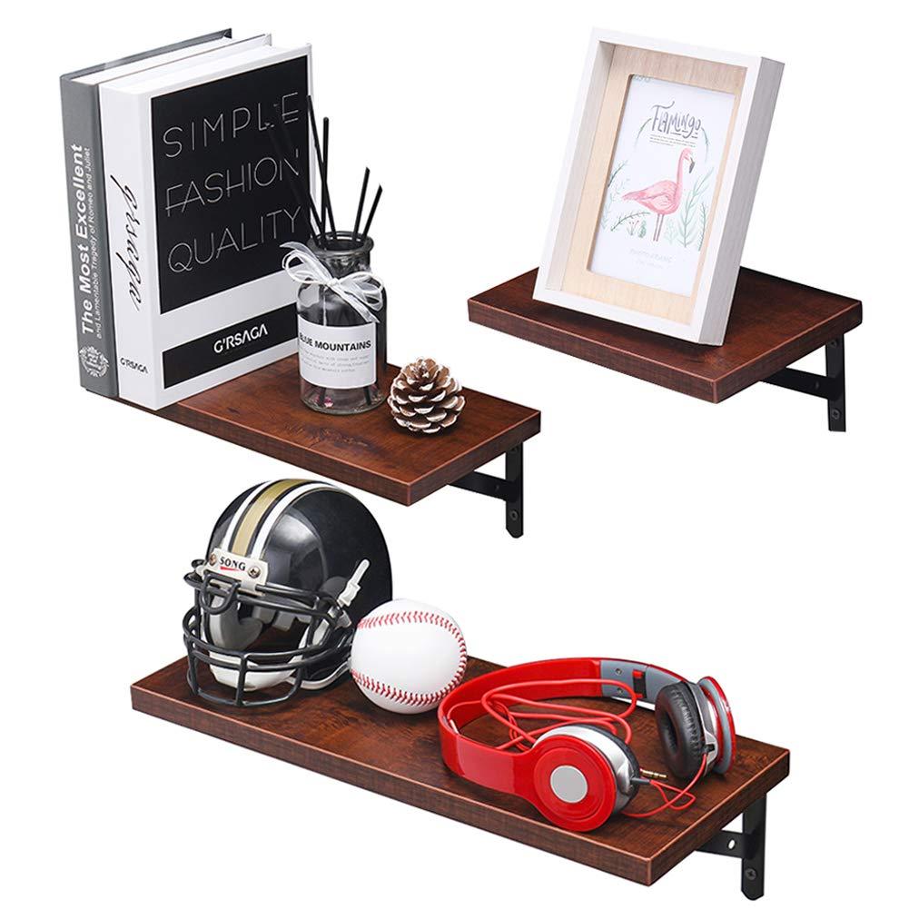 Walnut Brown SUPERJARE Wall Mounted Floating Shelves Storage Rack for Room//Kitchen//Office Set of 3 Display Ledge