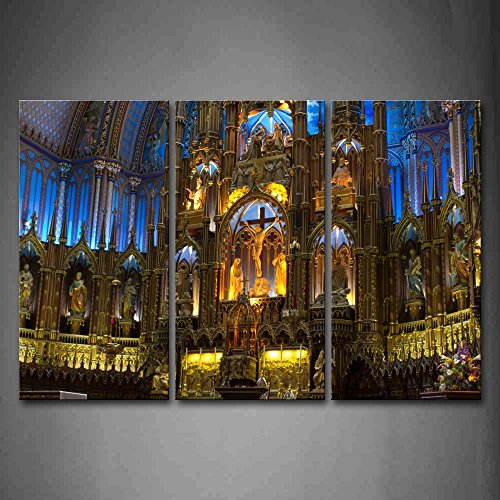 First Wall Art - Notre Dame Basilica In Montreal With Statues Wall Art Painting The Picture Print On Canvas Religion Pictures For Home Decor Decoration Gift by Firstwallart