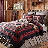 1 Piece lodge Quilt Queen, Unique Patchwork Cabin Pattern, Gorgeous Rustic, Plaid, Stripe Fabric Design, Indian Traditional Classic Style, Western Reversible Bedding, Black, Red, Tan Color Unisex