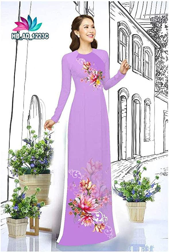 Ao Dai Traditional Vietnamese Long Dress Collections with Pants Silk 3D ADVN0105202078