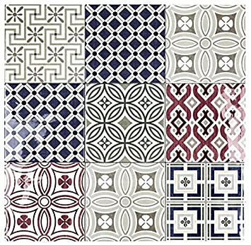 Country Patchwork X Ceramic Decorative Wall Tile Amazoncom - 5x5 white ceramic tile