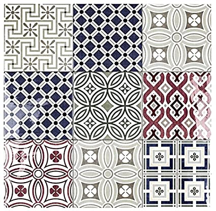 Country Patchwork X Ceramic Decorative Wall Tile Amazoncom - 5x5 inch tiles