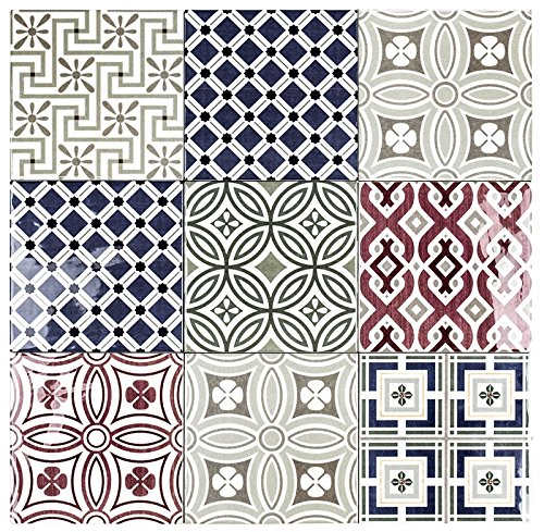 Country Patchwork 5x5 Ceramic Decorative Wall Tile (Decorative 5 Piece Tile)
