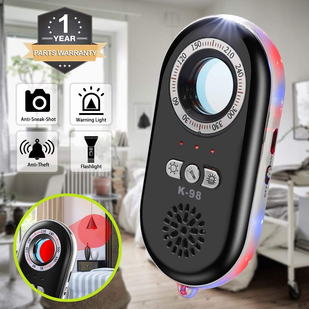 Anti-Spy Hidden Camera Detector Infrared Portable Safesound Personal Alarm 3-in-1 Functionality Defense Emergency Alert with Mini LED Flashlight for Home Hotel Travel Suitcase Security Box Black