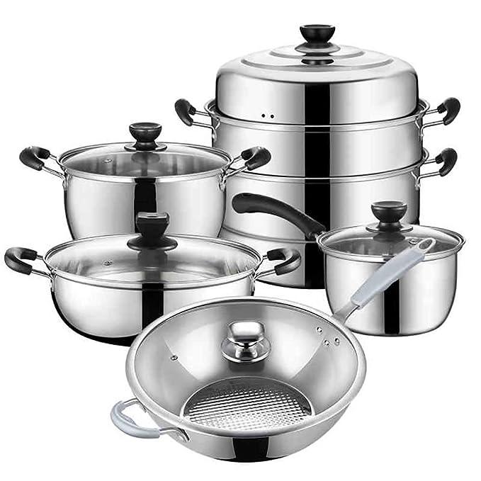 Sistema Profesional De La Inducción Del Cookware Del Acero Inoxidable, Sistema De Cookware Antiadherente De Aluminio, Sartén Juego De Regalo Del Pote De ...
