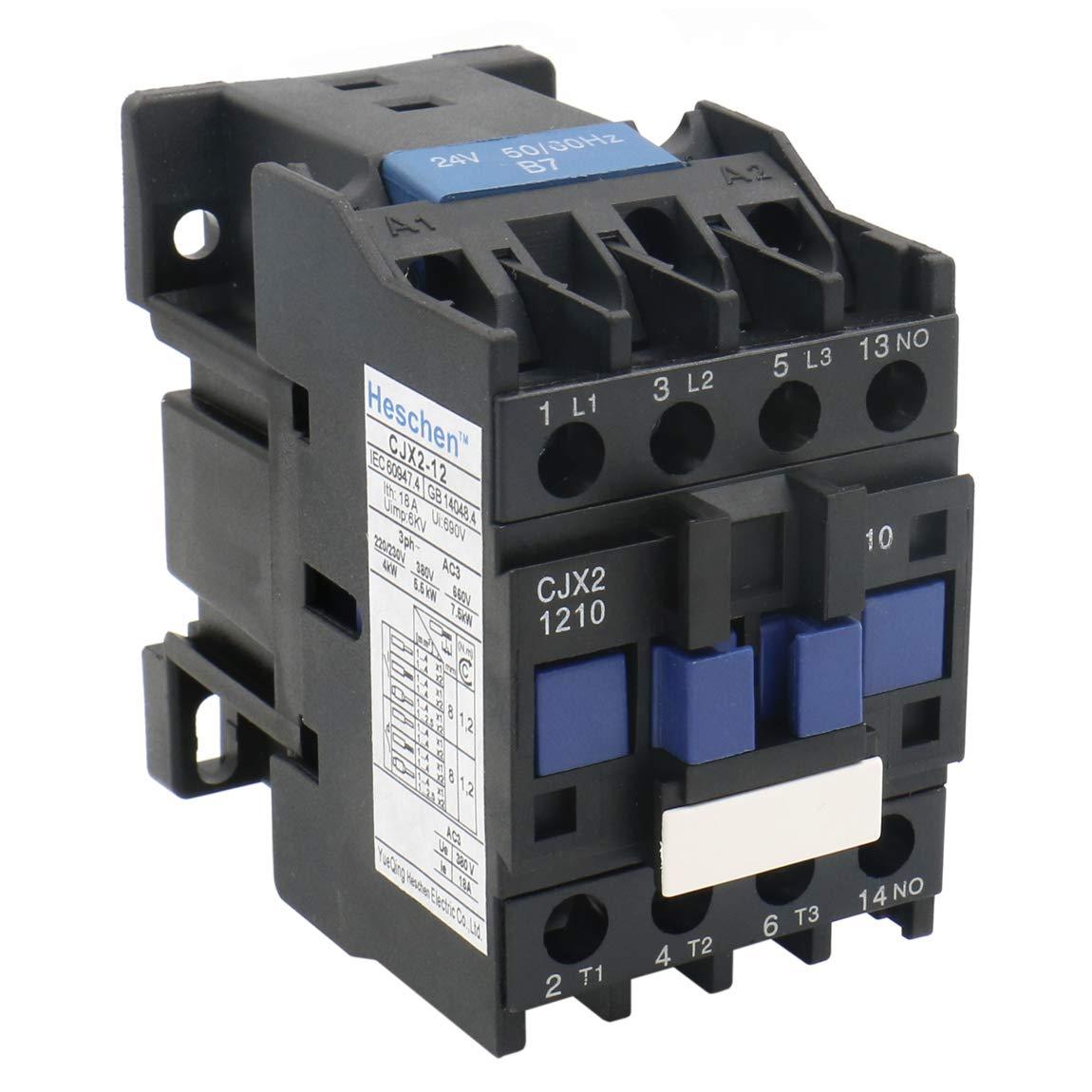 Heschen AC Contactor CJX2-1210 24V 50/60Hz Bobina 3P 3 polos normalmente abierto 660V 25A