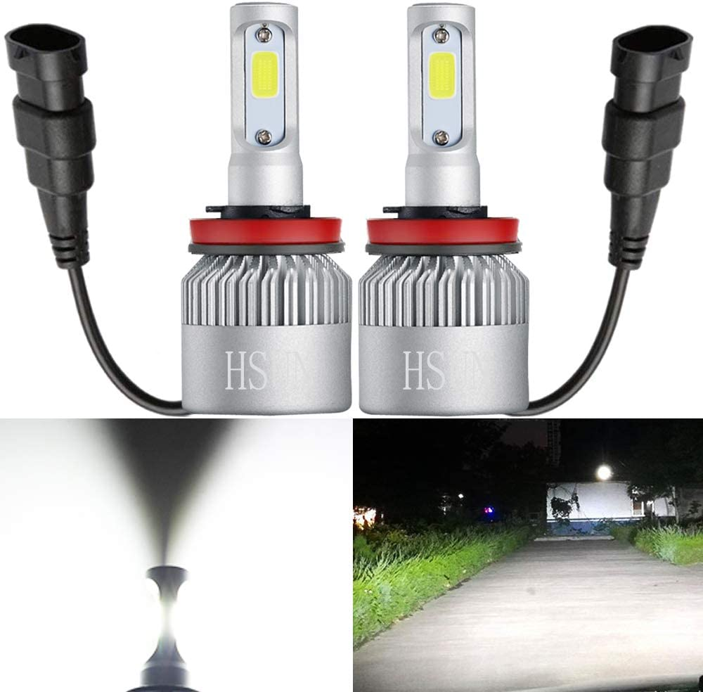 HSUN H7 LED Headlight Bulbs,72W High Power 8000 Lumens Extremely Super Bright COB Chip,Plug and Play,2 Pack,6500K White
