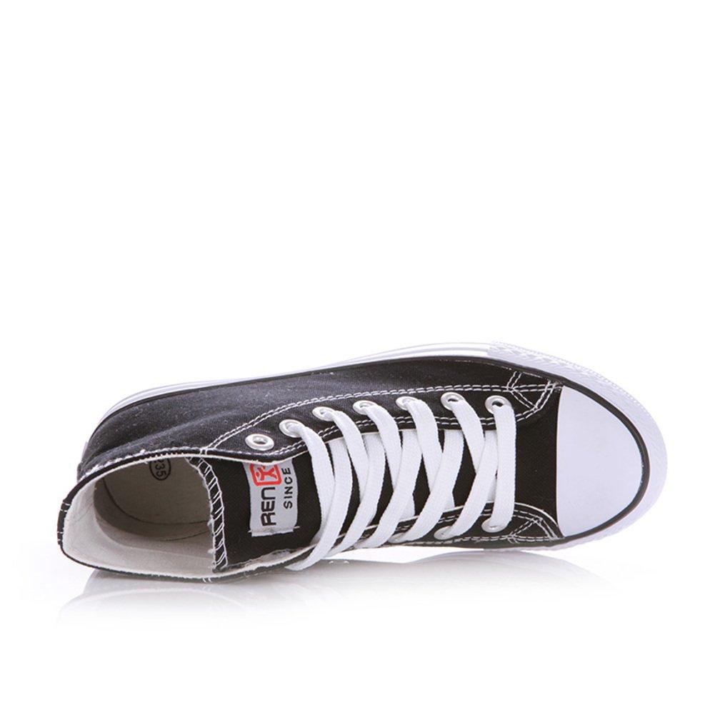 Lienzo Clásico Primavera,Los Amantes Del Zapato Sólidos Del Color Planos,Alta Zapatos Casuales,Cordón Finos Zapatos Del Estudiante-B Longitud del pie=22.8CM(9Inch)