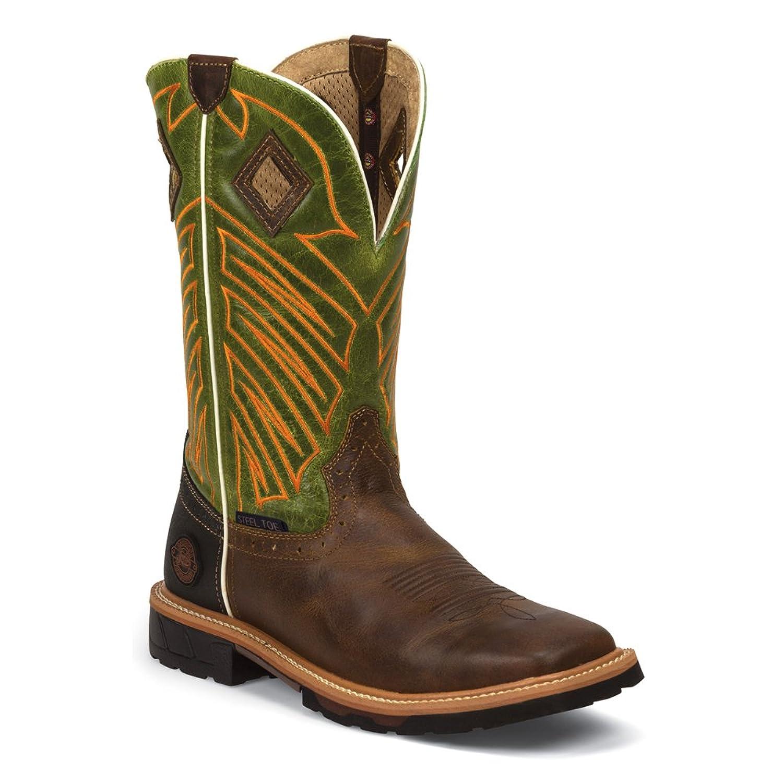 Justin Original Work Men's Rugged Tan Square Steel Toe Boot