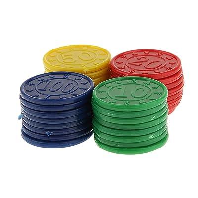 32pcs Juegos Casino Fichas con Flores Póquer Mahjong 4 Colores: Juguetes y juegos