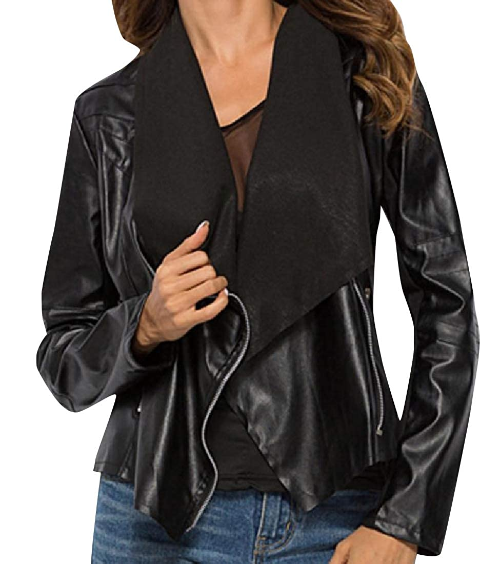YUNY Womens Breathable Steampunk Casual Loose Moto Biker Jacket Black S