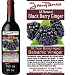 Blackberry Ginger Traditional Barrel Aged 18 Years Italian Balsamic Vinegar 100% All Natural 6 Dark color, syrupy consistency, rich aroma and complex flavor Aged in 6 types of wood for a minimum of 18 years 100% natural, NO sugar added, NO preservative of any kind