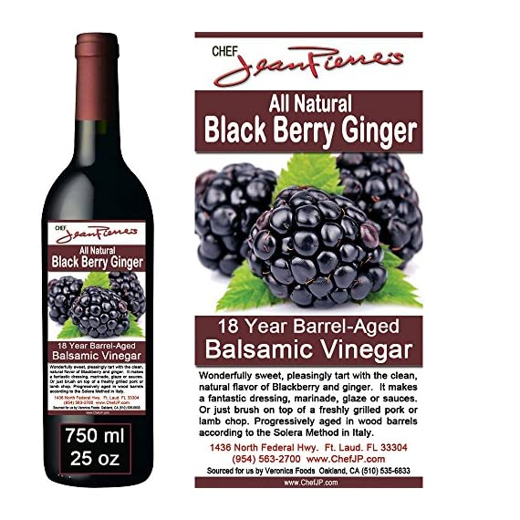 Blackberry Ginger Traditional Barrel Aged 18 Years Italian Balsamic Vinegar 100% All Natural 3 Dark color, syrupy consistency, rich aroma and complex flavor Aged in 6 types of wood for a minimum of 18 years 100% natural, NO sugar added, NO preservative of any kind