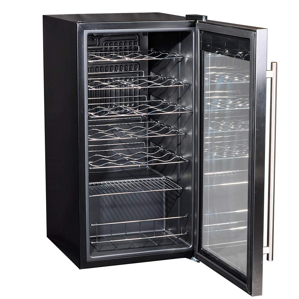 Smad 28 Bottles Freestanding Wine Cellar Compressor Wine Fridge with Digital Temperature Display, with Handle, Stainless Steel Frame, Black