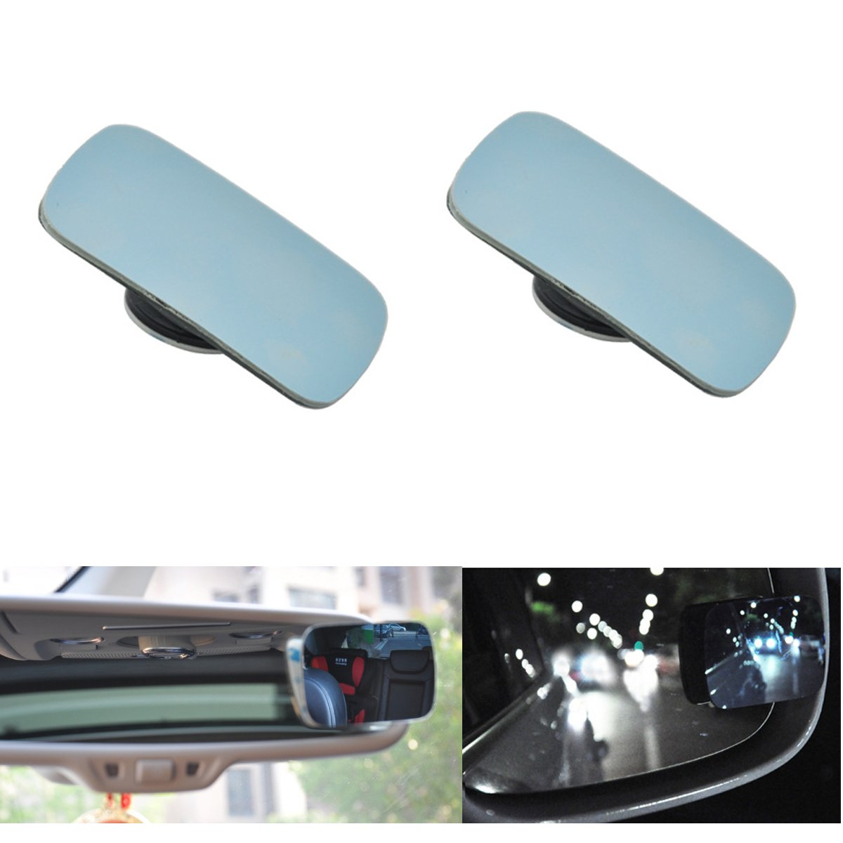 PME Blind Spot Mirror 360° Rotate - Safety Convex Side Mirrors, Exterior Rear View Mirror 2' Universal Wide Angle Blind spot Truck Mirror - (1 Pair, Plain Mirror) Exterior Rear View Mirror 2 Universal Wide Angle Blind spot Truck Mirror - (1 Pair