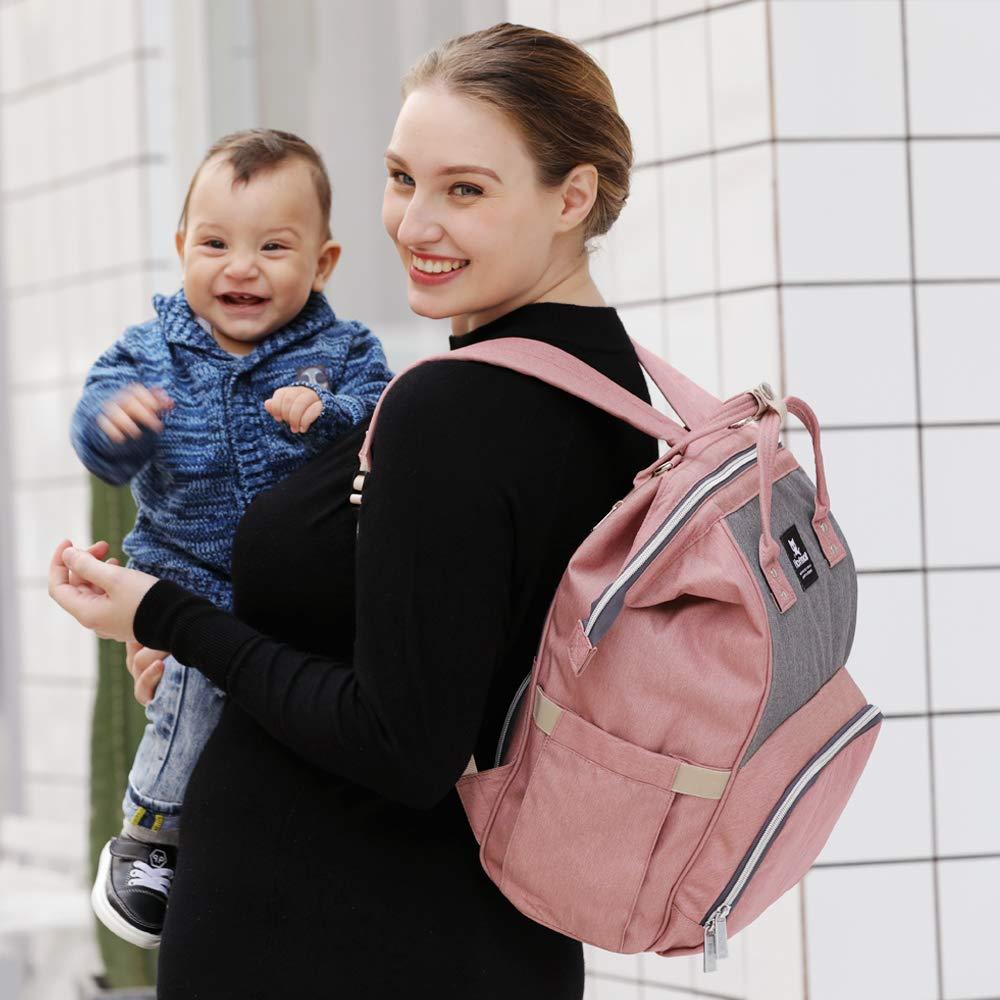 Schwarz Stilvolle Gro/ße Kapazit/ät Baby Wickelrucksack mit Wickelunterlage und Kinderwagen Haken Hafmall Wickeltasche Rucksack Wasserdichte Reise Babytasche