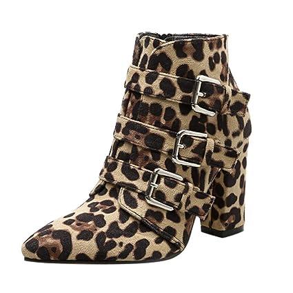 ZHRUI Leopardo para Mujer Punto de impresión Dedo del pie Cremallera Hebilla de cinturón Botines con
