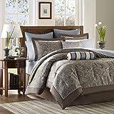 Madison Park - Aubrey 12 Piece Complete Bed Set - Blue - Queen - Jacquard - Includes 1 Comforter, 1 Bed Skirt, 1 Flat Sheet, 2 Standard Shams, 2 Euro Shams, 2 Pillowcases, 2 Dec Pillows,1 Fitted Sheet