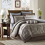 Madison Park - Aubrey 12 Piece Complete Bed Set - Blue - King - Jacquard - Includes 1 Comforter 1 Bed Skirt, 1 Flat Sheet, 2 King Shams, 2 Euro Shams, 2 Pillowcases, 2 Dec Pillows, 1 Fitted Sheet