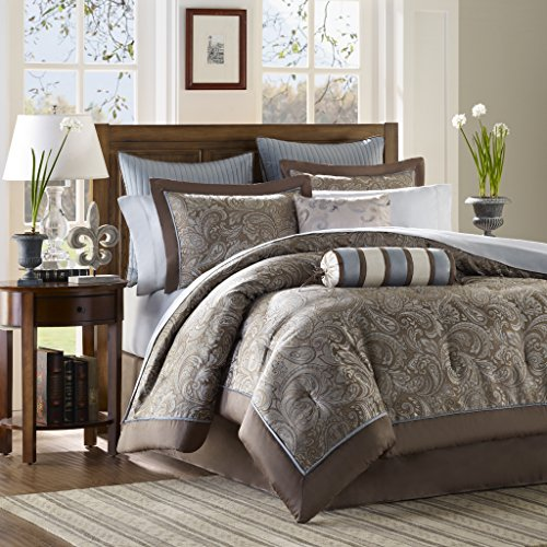 Madison Park Aubrey King Size Bed Comforter Set Bed In A Bag   Blue, Brown,  Paisley Jacquard   12 Pieces Bedding Sets   Ultra Soft Microfiber Bedroom  ...