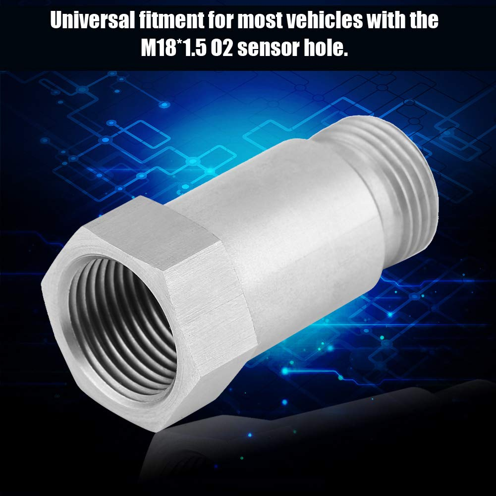 45mm M18*1.5 2Pcs Stainless Steel O2 Oxygen Sensor Bung Adapater Extension Universal Oxygen Sensor Spacer Extender Isolator for Exhaust Systems