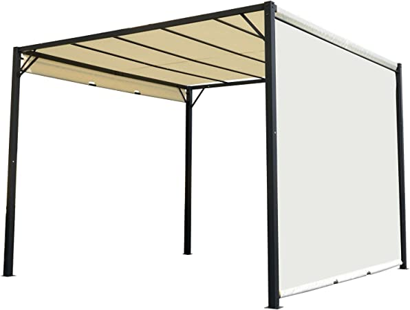 Outsunny Pérgola 3x3m Gazebo Cenador con Techo Retráctil y Pared ...