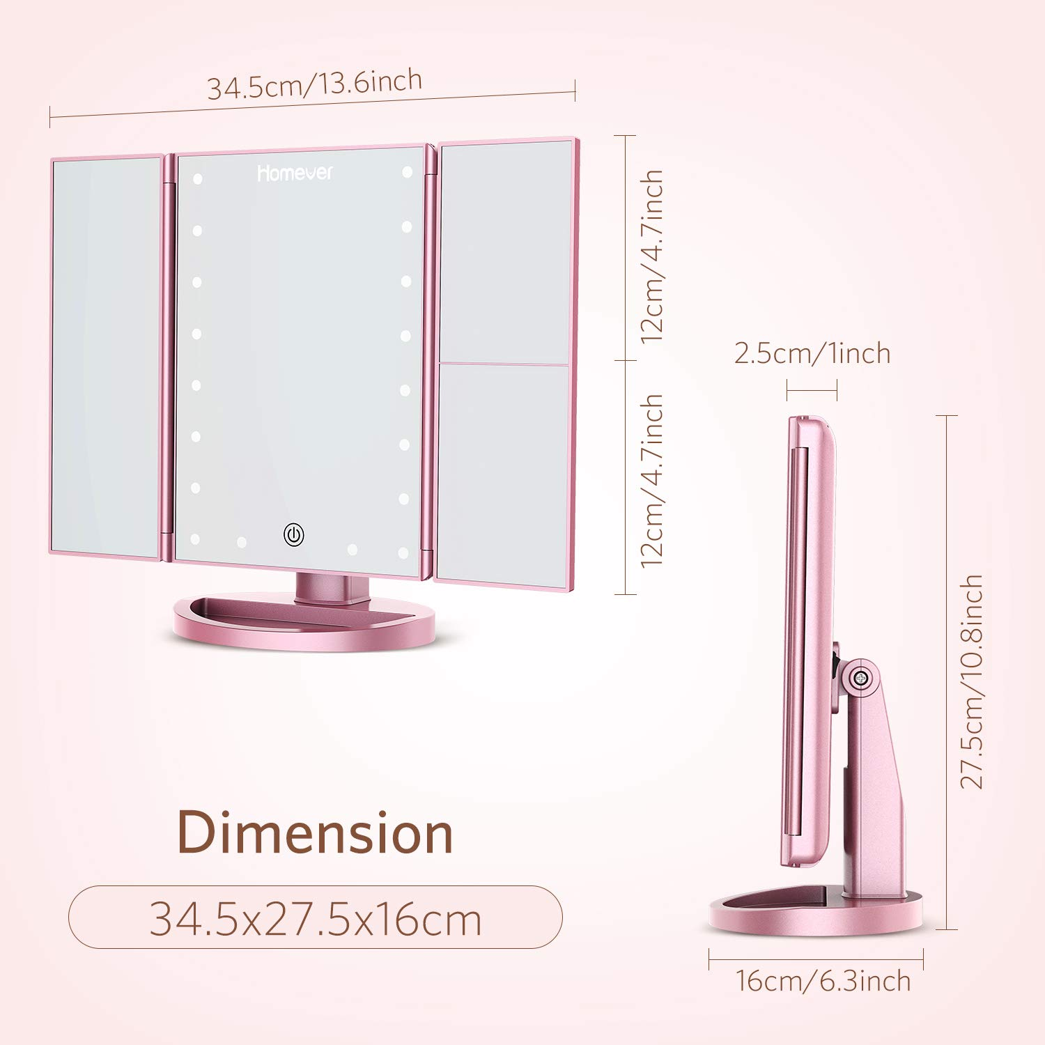 Homever Makeup Vanity Mirror with 21 LED Lights, 3X/2X Magnifying Lighted Makeup Mirror with Touch-Screen, 180° Free Rotation, Dual Power Supply, Upgrade in 2018 (Rose gold) by Homever (Image #5)