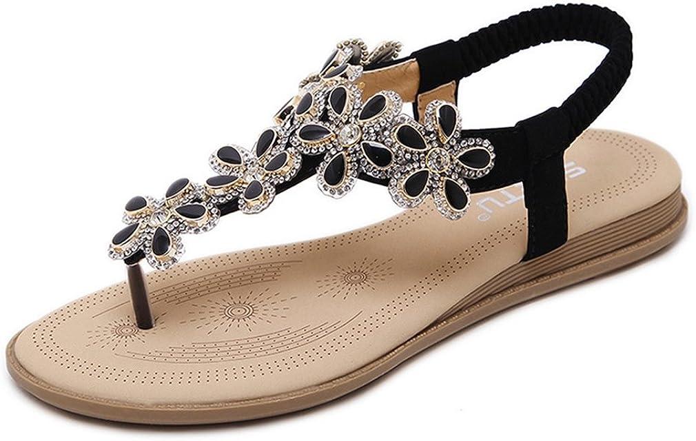 U-MAC Womens Flat Sandals Summer Rhinestone Bohemian Shiny Beads Soft Bottom Slip on Flip Flop Thong Shoes