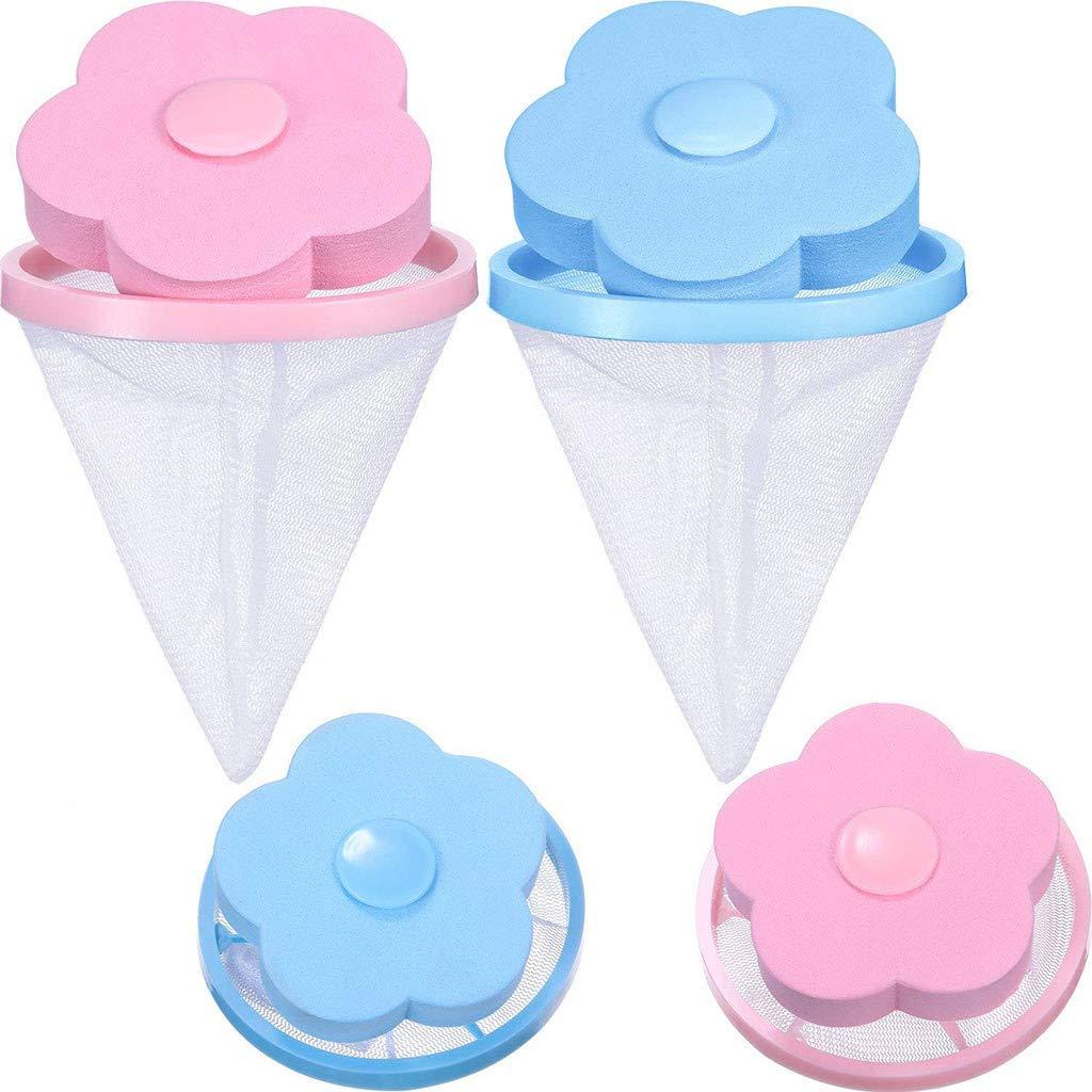 Washing Machine Filter Bag,Mesh Bag Hair Filter Net,Reusable Washing Machine Filter,Portable Hair Catcher Hair Removal Laundry Ball for Washing Machine Blue Pink (2pcs Blue 2pcs Pink)