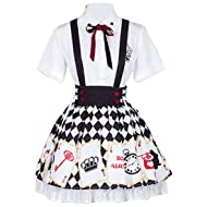 Partiss Womens Alice Poker Printed Blouse Skirt Sweet Classic Lolita Dress 759cc87d6c19