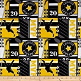Flannel Hockey MVP Yellow Fabric By The Yard