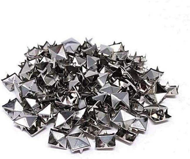 LjzlSxMF Quadratische Pyramide Nieten DIY Metall Nailheads Studs Zubeh/ör Punkfelsen Nailheads Spikes F/ür Beutel-Leder-Kleidung Schuh Rivet Handwerk Silber 7mm 100pcs