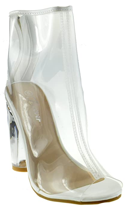 Amazon.com | Clear 24 Womens Clear Chunky Heel Peep Toe Lucite ...