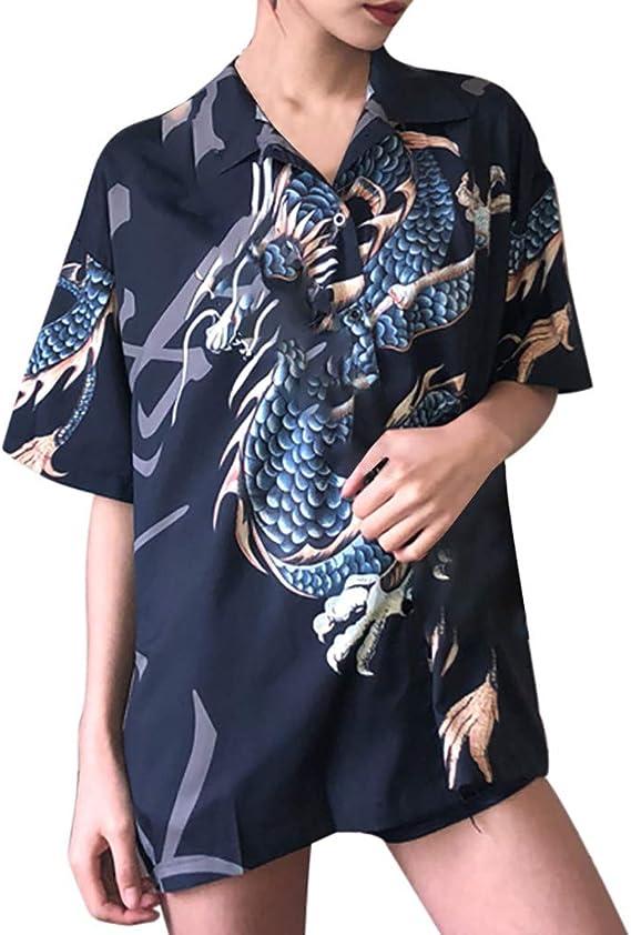 Blusas para Mujer, YGbuy Solapa De Moda con Estampado De Dragón Camisa Suelta De Media Manga Informal Top para Citas Blusa Camiseta De Gran Tamaño Camisa Larga Vestido: Amazon.es: Ropa y accesorios