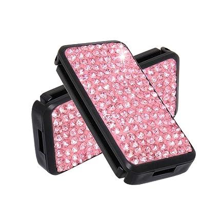 Pink Alusbell Seatbelt Adjuster Car Auto Shoulder Neck Strap Positioner Locking Clip Bling Crystal Luxury