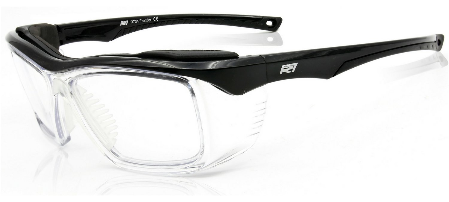 1c0053a7bd Amazon.com  Safety Glasses Clear with Integrated Side Shields z87 2+ ANSI  with Foam Brow Gloss Black Frame - Optical Quality Eyewear Protection by  Rio Ray ...
