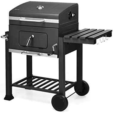 Giantex Charcoal Grill BBQ Grill Portable Barbecue Grill Outdoor Picnic Backyard Cooking with Wheels, Thermometer, Ash Tray, Air Outlet