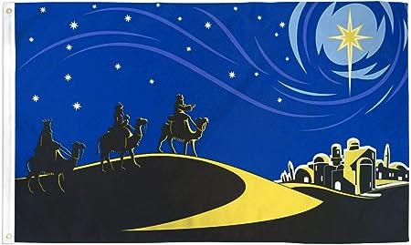 AZ FLAG Bandera de Bethlehem con LOS Reyes Magos 150x90cm - Bandera DE LA Natividad 90 x 150 cm: Amazon.es: Jardín