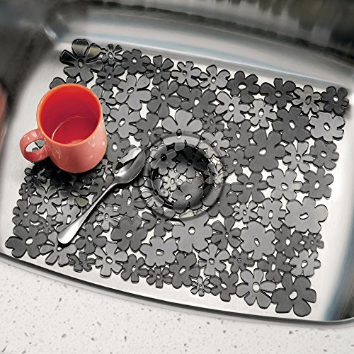 mDesign Decorative Kitchen Sink Protector Mat Pad Set, Quick Draining - Use In Sinks to Protect Surfaces and Dishes - Modern Floral Design - 2 Large Customizable Sink Mats - 2 Pack, Charcoal Gray
